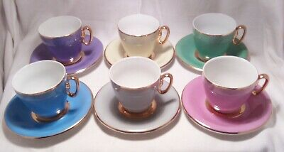 Vintage EPIAG D.F. Czechoslovakia Harlequin Cup and Saucer Set Gold Trim
