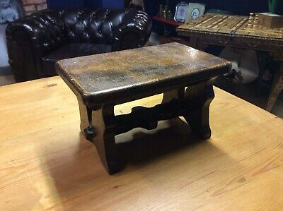 Antique Footstool Tiny Wooden Stool With Pierces Sides