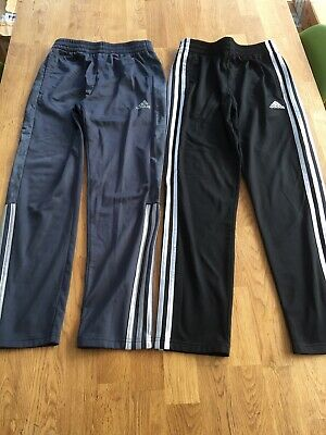 2 Pairs Adidas Joggers Tracksuit Bottoms Black & Grey Age 10-12 Years