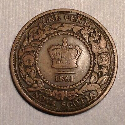 1861 Canada Nova Scotia One Cent - Large Bud