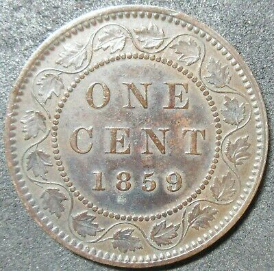 1859 Canada Nine Over Eight Large Cent Coin