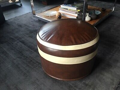 Vintage Sherbourne Pouffe / Footstool in Tan and Cream.
