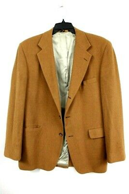 VTG 100%  Camel Hair 3 button Brown Sport Coat Jacket Mens Size 41 L Huntington