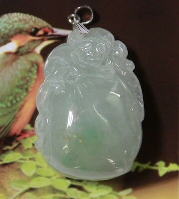 18K Certified Natural Jade <A> Perfect Chinese Jadeite Monkey & Peach Pendant