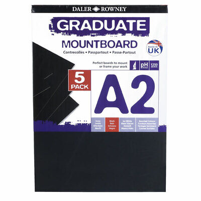 Daler Rowney A2 Graduate Mount Board Pack of 5 Black