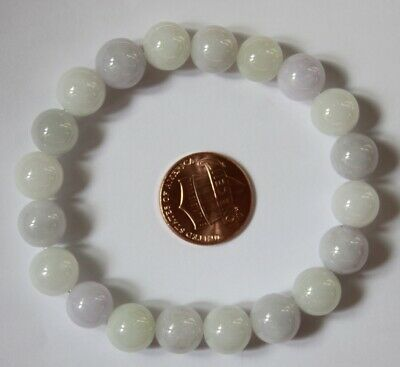 CERTIFIED Natural Jade Grade A Untreated Light Lavender Jadeite Bracelet #Br582
