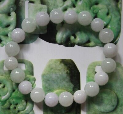 CERTIFIED Natural Jade Grade A Untreated Light Lavender Jadeite Bracelet #Br581