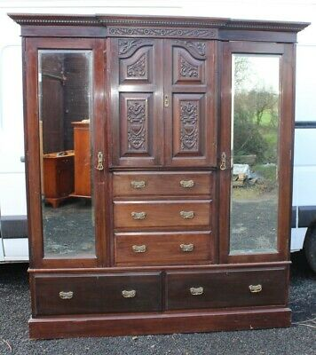 1920's Nicely Carved Solid Walnut Mirrored Compactum Wardrobe.