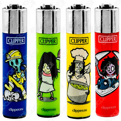 4 x Clipper Lighters ZOMBIES CHEF ++ Gas Lighter RARE Refillable SET NEW*