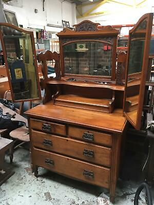Stunning Antique/Vintage Victorian/Edwardian Dressing Table With Triple Mirror
