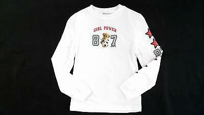 Limited Too Girl Power Girls size XXS Cotton Shirt White Graphic Long Sleeve