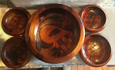 5 Piece Teak/Monkey Pod Wood Hand Carved Salad Bowl Set Pineapple Fish Design