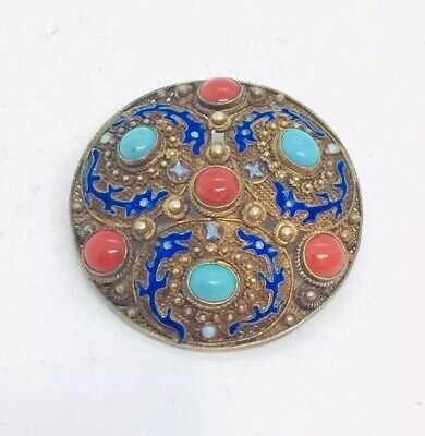 Chinese Antique Sterling Silver Enamel Coral & Turquoise Filigree Pin