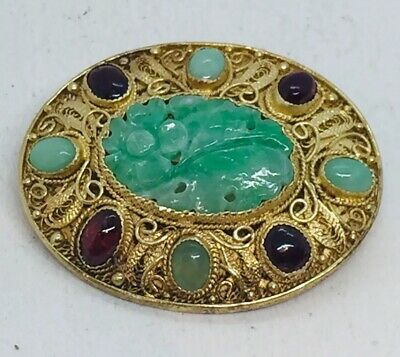 Chinese Antique Sterling Silver Gold Vermeil Green Jade Tourmaline Filigree Pin