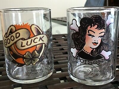 """Sailor Jerry Spiced Rum Set(2) Shot Glasses Pin Up Girl Poison + Good Luck 2.7"""""""
