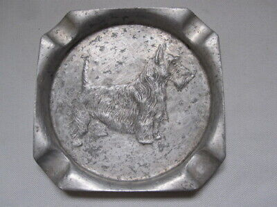 Art Deco Scottie Dog Aluminium Ash Tray / Trinket Dish made in USA
