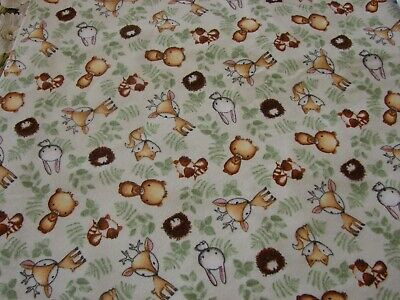 Woodland Tykes Flannelette Fitted Green Cot Sheet Handmade