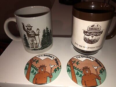 Vintage Smokey The Bear Coffee Mugs and Buttons Lot
