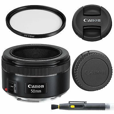 Canon EF 50mm f/1.8 STM: Lens with Glass UV Filter, Front and Rear Lens Caps