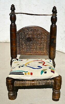 Antique 19th Century Tibetan Buddhist Meditation Chair Low Chair Carved Wood