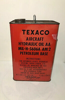 Vintage Texaco Aircraft Hydraulic Oil AA MIL-H-5606A Petroleum Base Can Empty