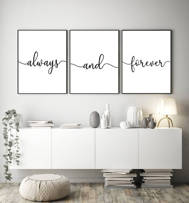 Home wall art Set of 3 - Always and forever - typography prints - home gifts A4