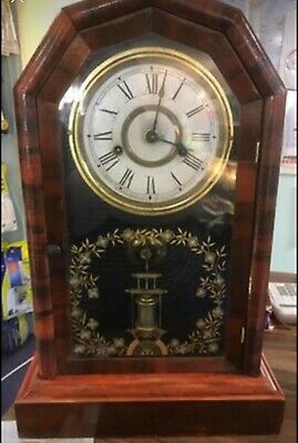Antique (Approx.1879) Jerome & Co 1 Day Striking Mantle Clock In Mahogany Case