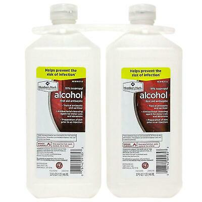 2 PACK - Member's Mark 91% Isopropyl Alcohol 32 Oz First Aid Topical Antiseptic