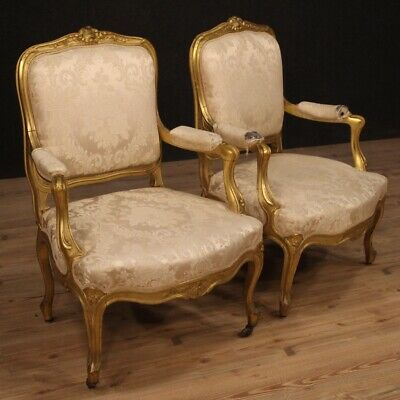Pair of armchairs furniture chairs seats in gilt wood antique style Louis XV
