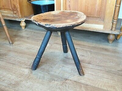 Early Antique Primitive Welsh Wooden Milking Stool