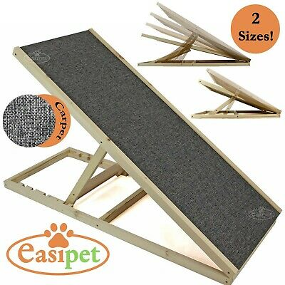 Wooden Dog Ramp Pet Puppy Adjustable Height Non Slip Carpet Surface Access Stair