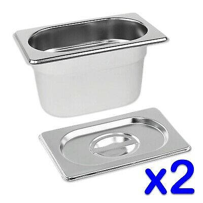 STAINLESS STEEL FOOD PANS 2x GASTRONORM 1/9 TRAYS AND LIDS 100mm DEEP BAIN MARIE