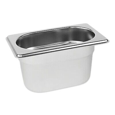 STAINLESS STEEL CONTAINER POT GASTRONORM 1/9 TRAY 100mm DEEP BAIN MARIE FOOD PAN