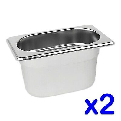 STAINLESS STEEL FOOD PANS 2 x GASTRONORM 1/9 CONTAINERS 100mm DEEP BAIN MARIE
