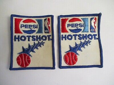 New Pair of 70's Vintage Pepsi-NBA Hotshot Sew On Embroidered Jacket Patch Nos!