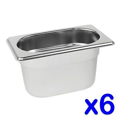 STAINLESS STEEL FOOD PANS 6 x GASTRONORM 1/9 CONTAINERS 100mm DEEP BAIN MARIE