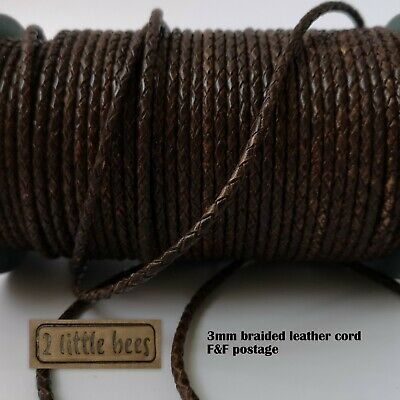 3mm Braided Brown Leather Cord Genuine Round Jewellery Bracelet Thong
