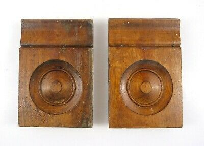"2 Antique Plinth Rosette Block Door Window Oak Wood Trim Moulding 7.25"" x 4.875"""