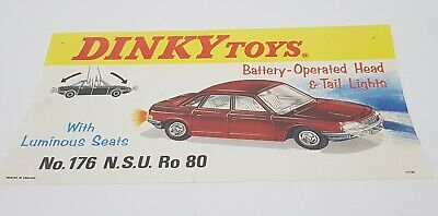 Dinky Toys No. 176, NSU Rop 80 Car, Shop Display Sign, Superb Nr Mint Condition.