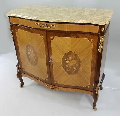 Vintage Epstein Marble Topped Inlaid Side Cabinet