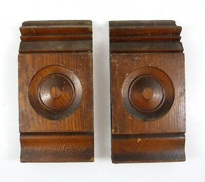 "2 Antique Plinth Rosette Block Door Window Oak Wood Trim Moulding ~ 10"" x 5"""