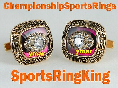 1969 Kansas City Chiefs Championship Super Bowl 10K Gold Cufflinks  Ring Top