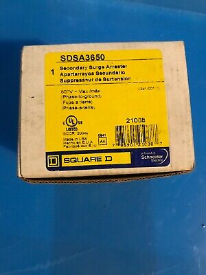 SQUARE D SDSA3650 SECONDARY SURGE PROTECTOR SPDT 40KA 600V MAX~ New Never Used