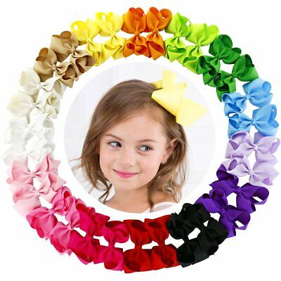 4.5 Inch Hair Bows Grosgrain Ribbon Boutique Hair Bow Clips For Girls Set Of 30