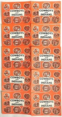 ESAR3652. VINTAGE Lot of 10 COWBOYS AND INDIANS Vending Machine Ad Pieces 1960's
