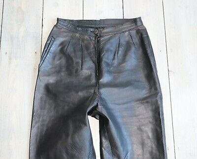 Women's Vintage Zip Fly High Waist Tapered Black 100% Leather Trousers W26 L28