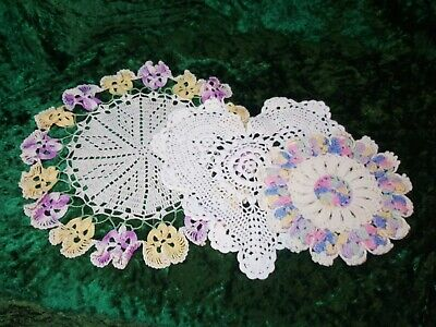 Vintage 3 hand made crochet doilies white/multicolor,  pre owned. 1-CD