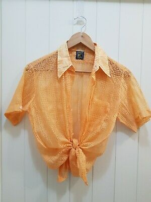 Vintage 70s - 80s Rifle Label Sheer Blouse Shirt Pocket Retro Rockabilly Size M