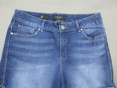 Nine West Size 12 Womens Blue Cotton Stretch Jean  Roll Up Shorts 622