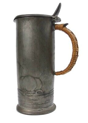 Art Nouveau English Pewter Lidded Jug Wicker Handle Archibald Knox Design 0280